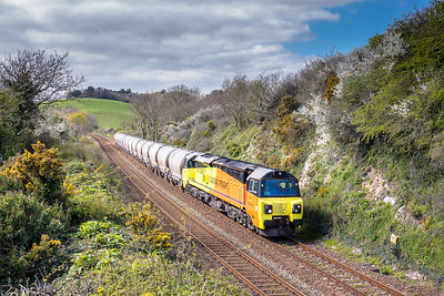 060417  70802 has just crossed Forder viaduct in a slightly later path with the 6C36 1300 Moorswater Lafarge to Aberthaw Cement Wks Lafarge.Just as well it was later as it did not clear up in Plymouth until 1330