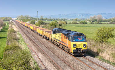 090417  .Taken more Colas shots in the last two days than in the last two years!  70806 approaches middle bridge Brent Knoll with the 6C23 1512 Bristol East Jn to Westbury Down T.C.