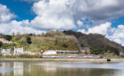 0201417  Arriva voyager heads along the Teign in some nice light with the 1S51 1225 Plymouth to Edinburgh