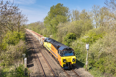 090417  Plan A was to try and get this at Brent Knoll,I realised this would not be possible but luckily we were nearby this bridge and well pleased with the shot....70812 speeds through Huntworth with the 6c24 1315 Bristol East Jn to Westbury Down T.C.