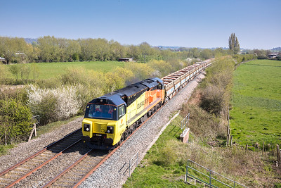080717,  Always nice to get a clean colas .... 70812 heads the 6C25 12:27 Westbury to Bristol East Jn via Fairwater past Oath.I thought it had failed at Somerton but it had apparently set off a hot axlebox detector so it ended up 30 odd late
