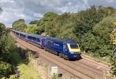 150817  FGW 125 headed by 43151 speeds past Burngullow with the 1A81 0844 Penzance to London Paddington