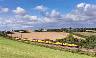 250817  43014/43062 head down grade into St Germans with 1Q18 the  0525 Old Oak Common H.S.T.D. to Paignton (via Penzance)