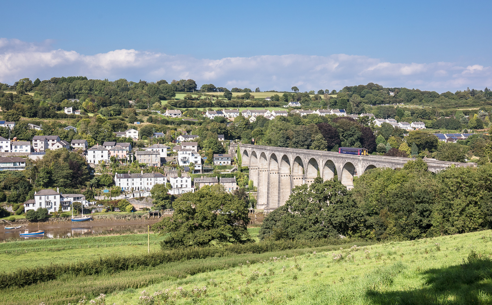 With Calstock as a backdrop,FGW DMU 153369  crosses the Tamar and heads back into Devon