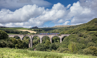 150817  FGW class 150 heads the 2C46 1240 Newquay to Penzance over Gover viaduct.