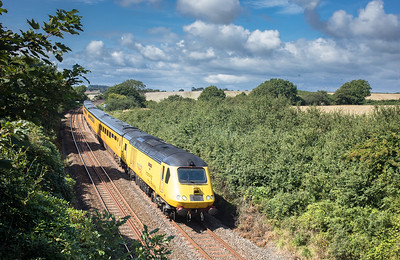250817  After their break in Penzance,43014/43062 pass Crift Lane with the 1Q18 0525 Old Oak Common H.S.T.D. to Paignton