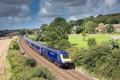 190817  43143 /43015 on  the 1A85 1100 Penzance to London Paddington pass Trenowth
