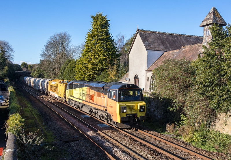 011217  .70816 passes St Austell with the 6Z54 1330 Burngullow to Westbury