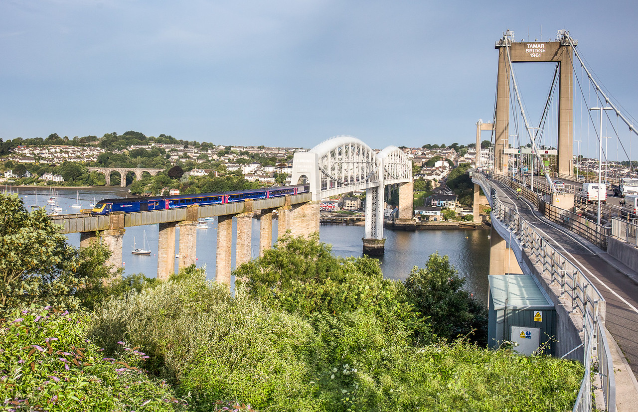 180717  Three bidges...FGW 125 crosses the Royal Albert bridge with Coombe by saltash viaduct and the Tamar road bridge completing the view.