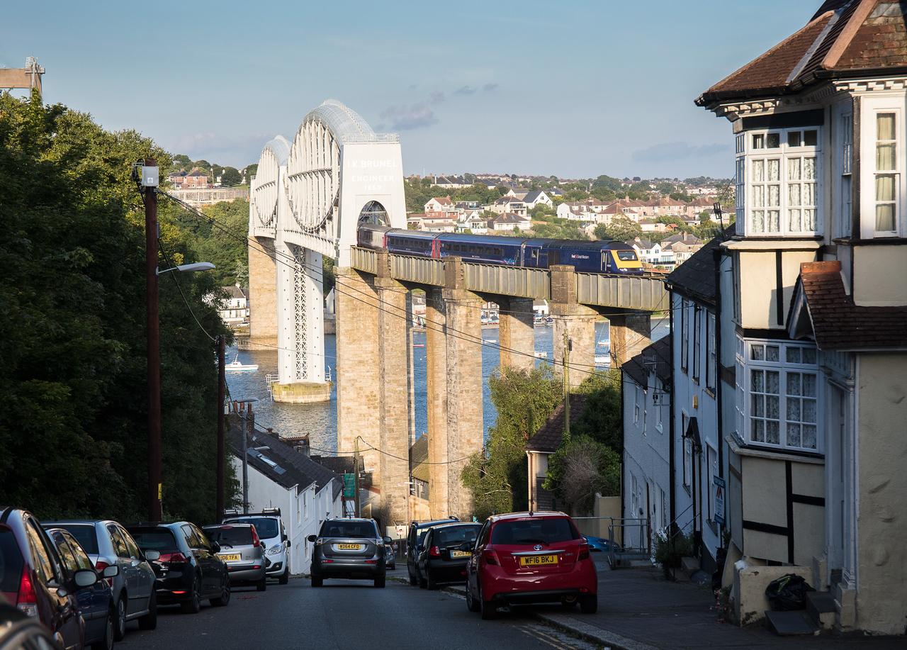 240717   FGW 125 43021 leads the 1C87 1606 London Paddington to Penzance off the royal albert bridge into Cornwa;;