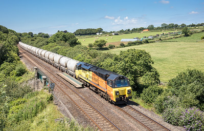 050717 After running around at Lostwithiel,70810 approaches Sperritt tunnel with 6c35 the 0335 Aberthaw to Moorswater