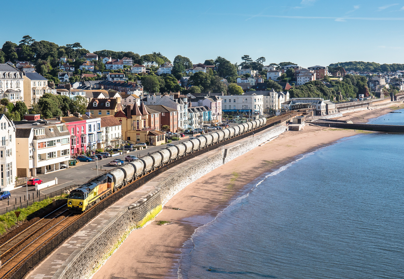 050717  .70810 heads along the sea wall at Dawlish with 6c35 the 0335 Aberthaw to Moorswater