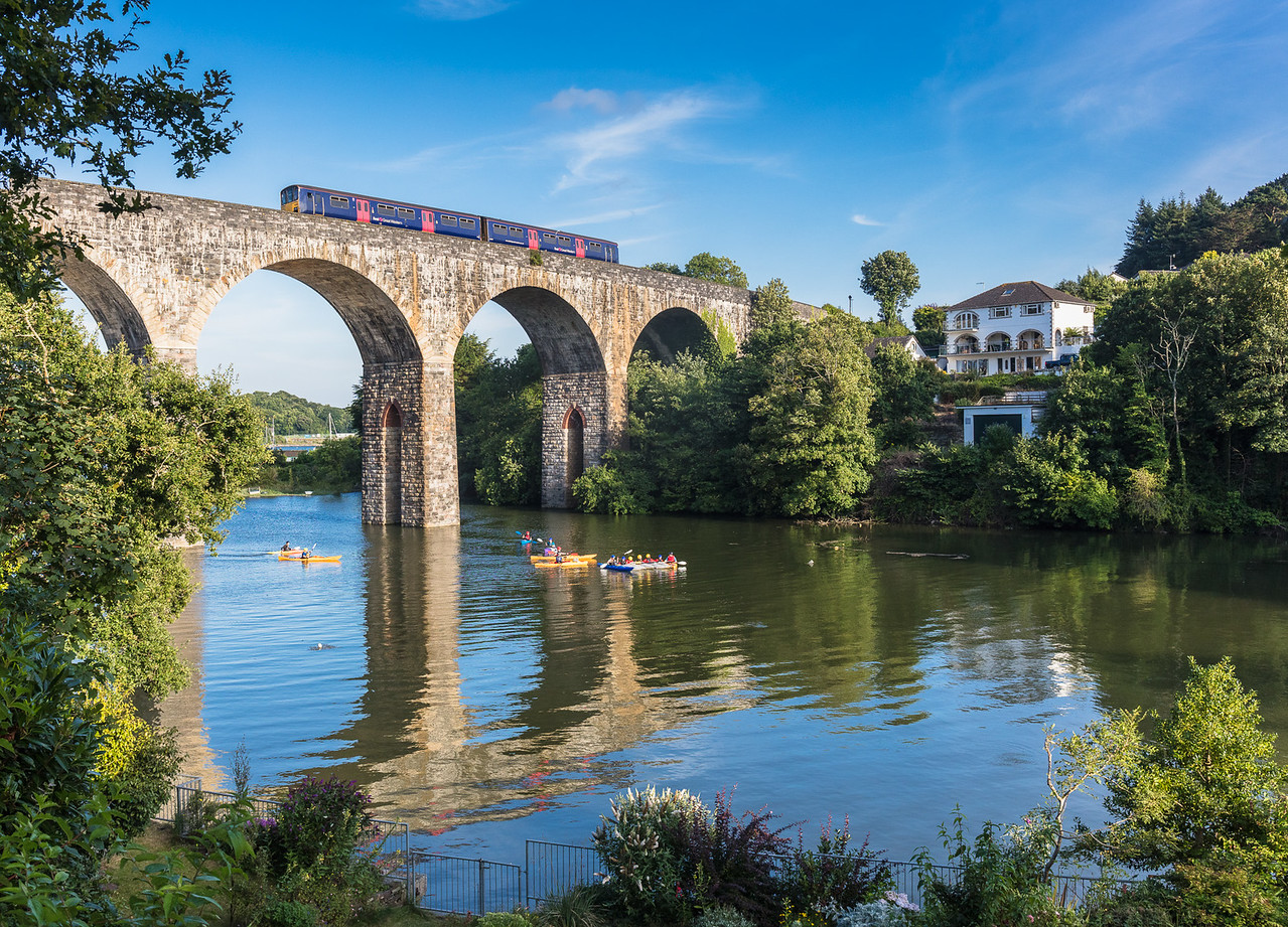 240717  .FGW class 150 heads the 5C51 1854 Liskeard to Plymouth over Coombe by Saltash Viaduct.