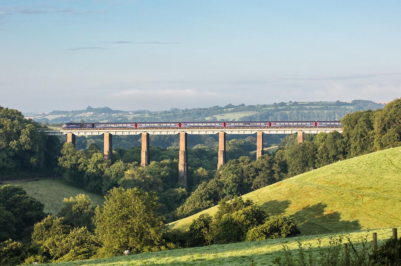250717  FGW 125  with 43135 leading crosses Liskeard Viaduct with the 1A76 0505 Penzance to London Paddington
