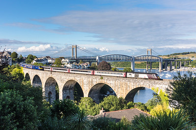 080717  43304 heads the 1V58 0900 Glasgow Central to Penzance over Coombe by Saltash viaduct.Also in view is a FGW 125 on the 1A97 1726 Newquay - London Paddington