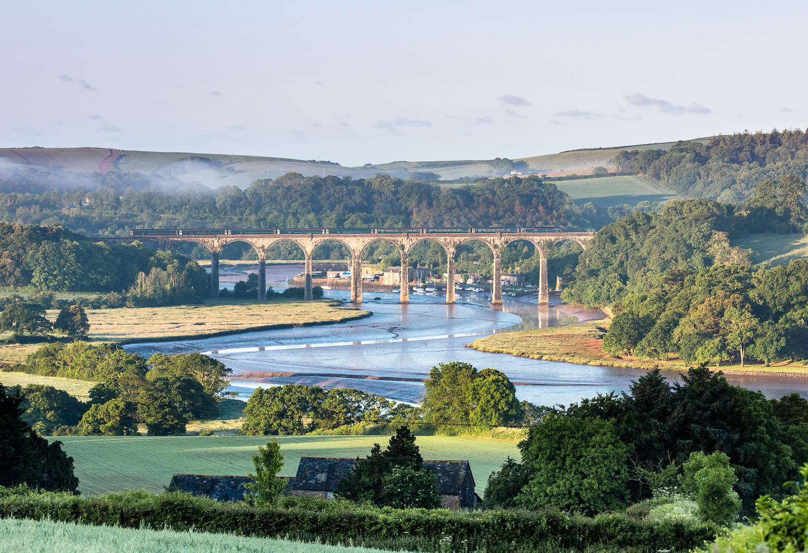 030617 57605 heads over St Germans Viaduct with the down sleeper,1C99  23:45 Paddington-Penzance