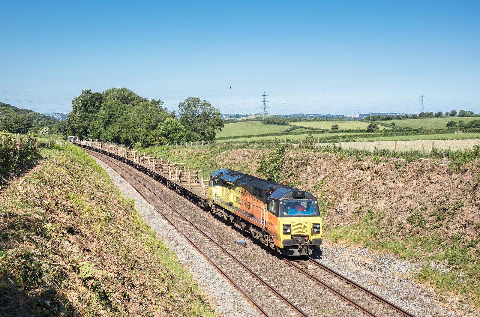 180617  70810 nears Hemerdon summit with the  6C97 09:10 Saltash to Westbury
