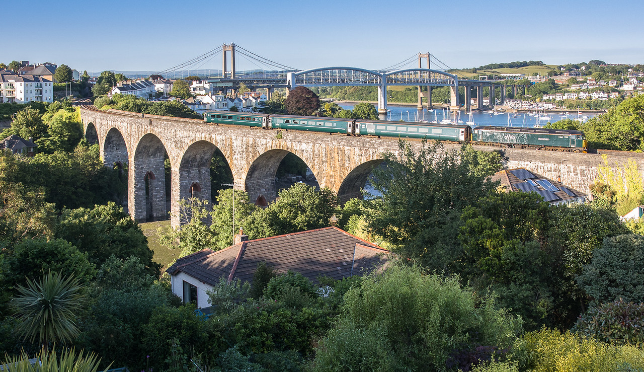 170617  On a glorious evening 57602 heads  2C51 1750 Exeter St Davids to Penzance over Coombe by Saltash Viaduct.