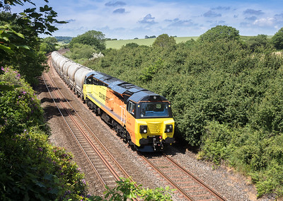 010617  70815 passes Crift lane with the 6C36  ThO  11:38 Moorswater-Aberthaw cement works