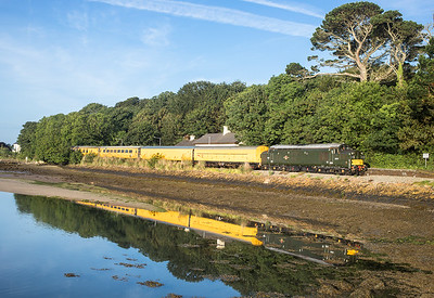 140617  37057 is seen at  Lelant with the 3Q52 2229 Exeter Riverside N.Y. to Penzance