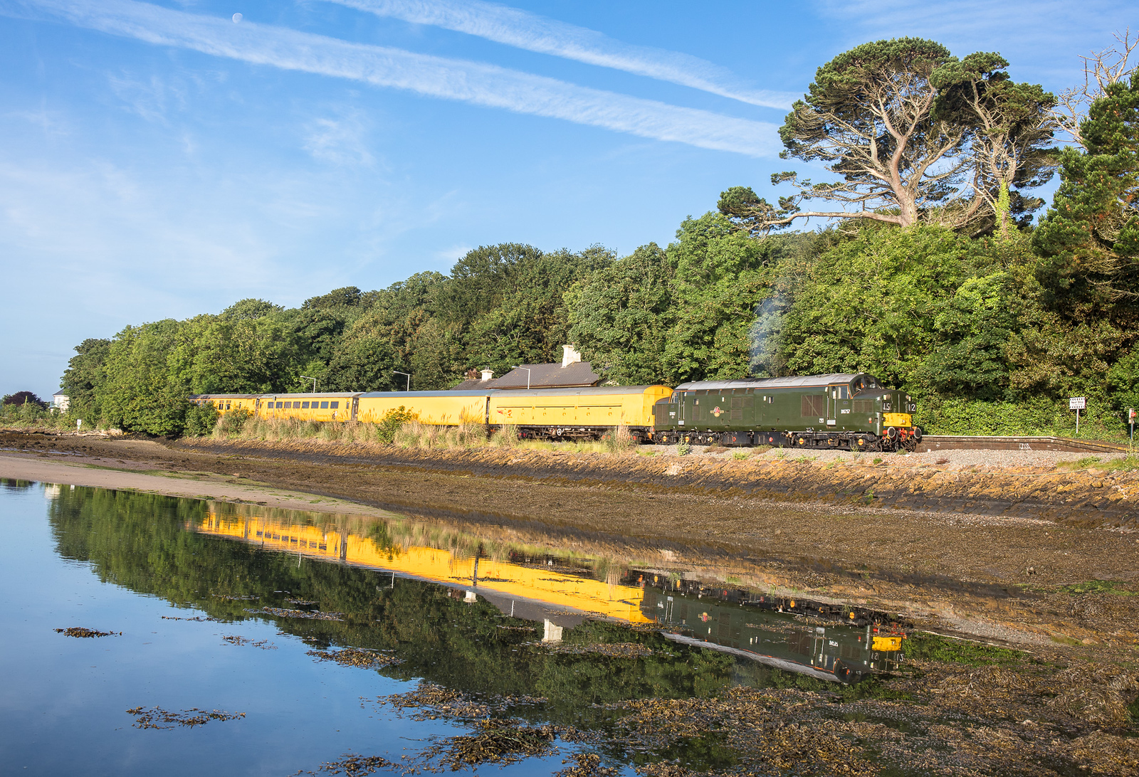 140617  With a hint of clag...37057 gets underway from Lelant with the 3Q52 2229 Exeter Riverside N.Y. to Penzance