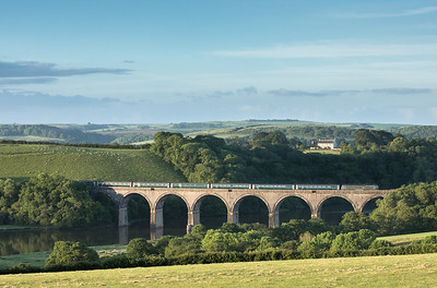 070617  Shortly before 0600 57604 heads 1C99  23:45 Paddington-Penzance over Lynher viaduct.