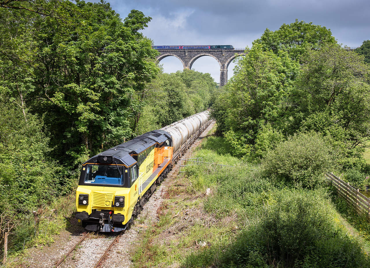 "010617 The ""master shot"" on the branch? FGW 125 heads over Moorswater viaduct as 70815 draws to a stop near Coombe junction  halt."