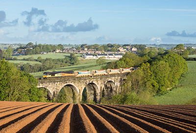 180517 .  66850  heads on early running 6C22 04:56 Falmouth Docks to Westbury head over Bolitho viaduct 66847 was on the rear.