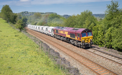 100517 . 66175 leaves Lostwithiel and heads up Treverran bank with the 6G07  (Q)  13:20 Fowey-Goonbarrow