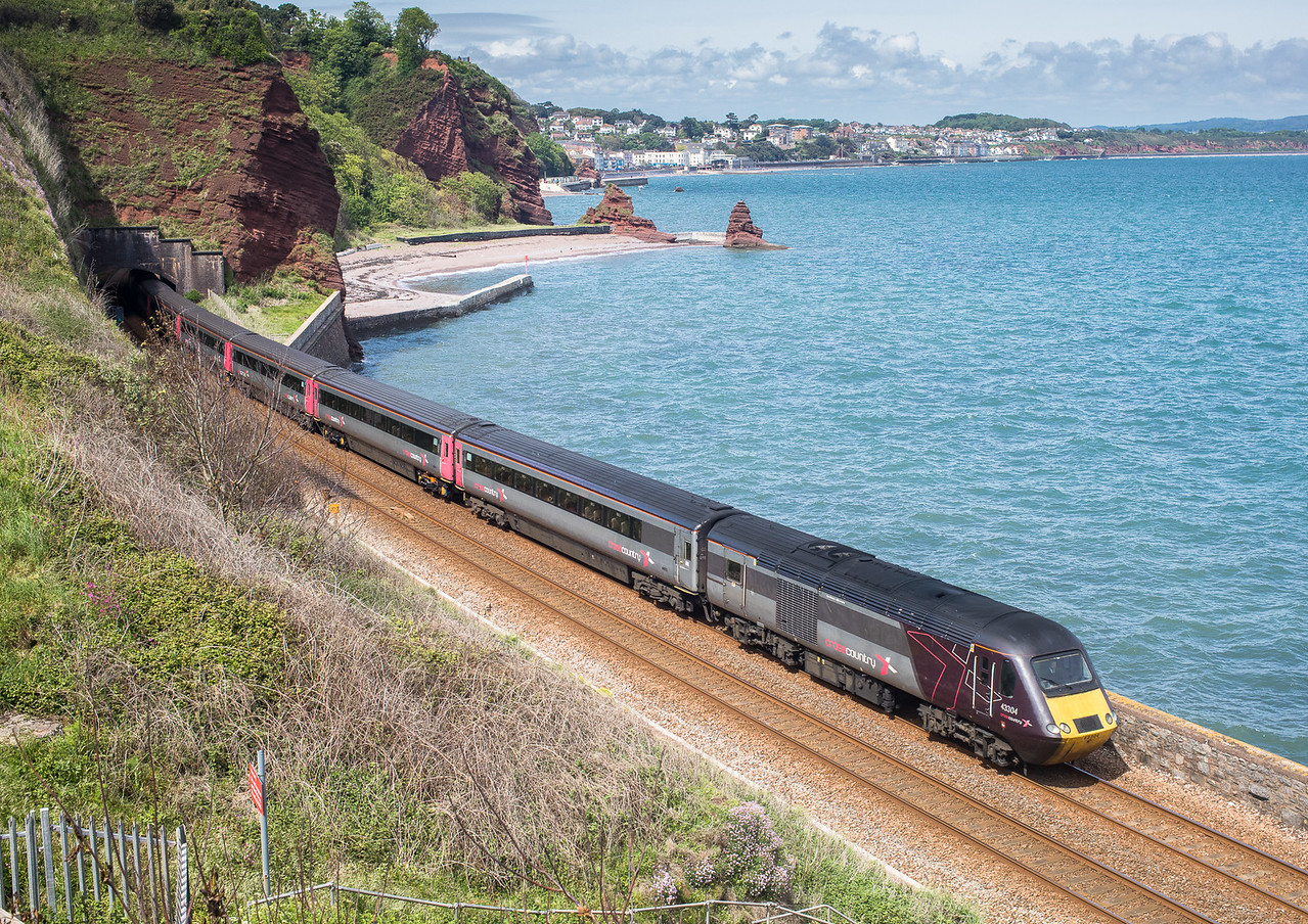 210517  ,,43304/43366 head the 1V50 0900 Leeds to Plymouth past Horse Cove
