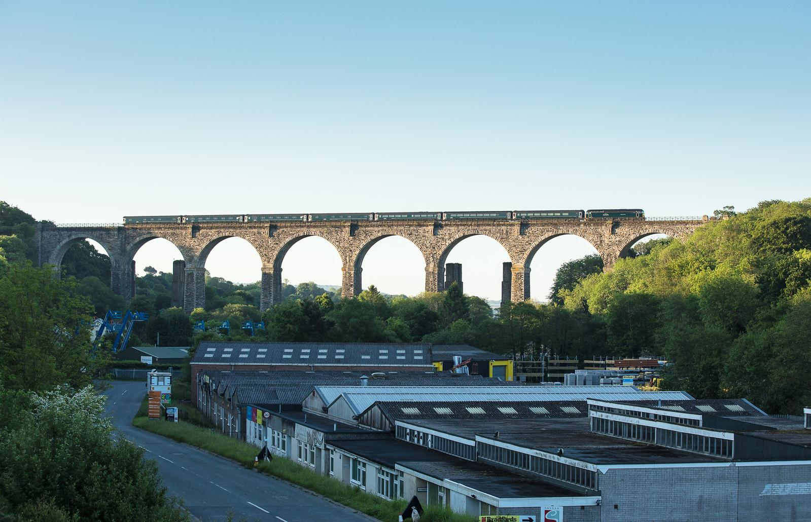 260517  57602 crosses Moorswater Viaduct with the down sleeper, 1C99   23:45 Paddington-Penzance