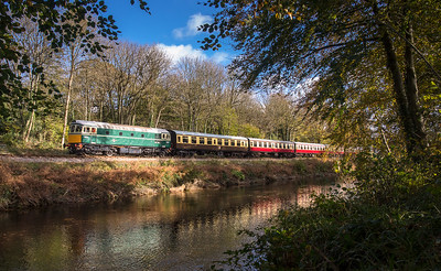 051117  Class 33 D6501 ambles along the banks of the River Dart with the 1222 Totnes to Buckfastleigh