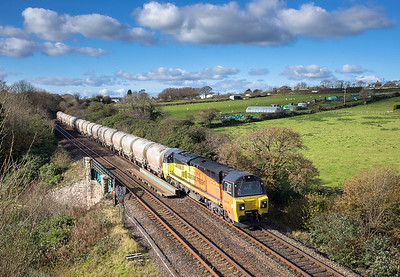 081117   70816 is about to enter Sperritt tunnel with the  6C35   WO  03:34 Aberthaw cement works-Moorswater
