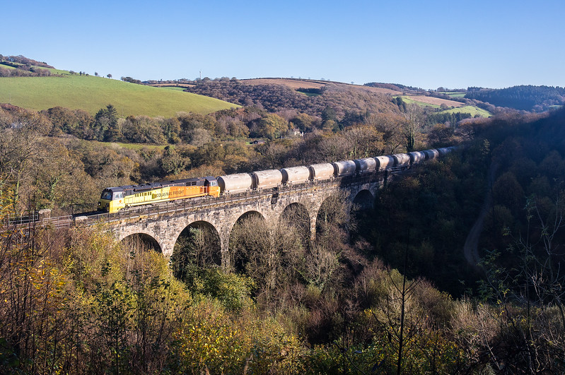 081117   70816 crosses Clinnick Viaduct and heads to Lostwithiel to run round with the  6C35   WO  03:34 Aberthaw cement works-Moorswater