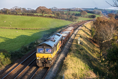 021117  66849  is about to head under the A385 near Culver Lane with the 6Z66 09:00 Tavistock Junction to Tavistock Junction circular