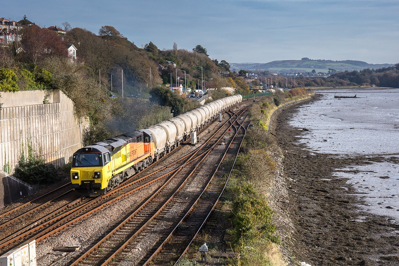 011117  Running down the  the banks of the River Plym,70816 heads the  6C35  WO  02:50 Aberthaw cement works-Moorswater past Laira