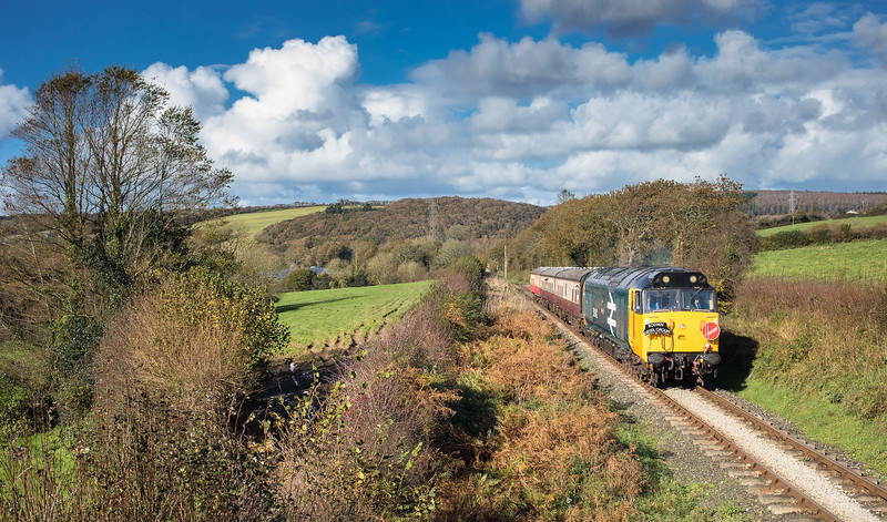 041117  50042 is deep in the Cornish countryside and has just left Boscarne Junction