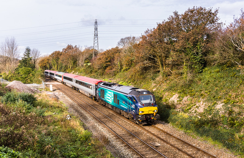 311017  68025 is about to pass under the A385 at Culver lane (between S Brent and Tigley) with the 5Z63 09:52 Laira to Crewe Carriage Sidings