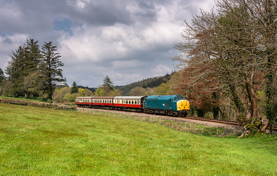 280418  37142 passes Charlies gate with the 1335 Bodmin general to Bodmin Parkway.