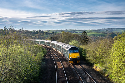 300418  57602 has just crossed Moorswater viaduct and continues its journey west with the 1C99   23:50(Sun) Paddington-Penzance