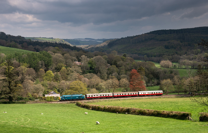 280418  With the Glynn valley as a backdrop 37142 climbs upgrade with the 1405 Bodmin parkway to Bodmin general.
