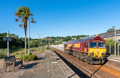 090718  66031 heads the 0726 St Blazey Ss to Parkandillack into Lostwithiel.On a Mondays as this train starts from St Blazey it has to come to Lostwithiel to run round