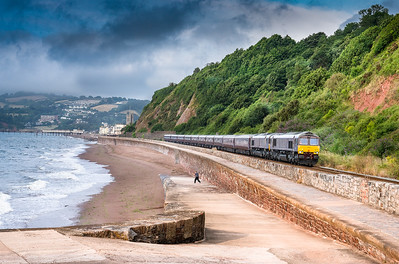 100718  66743+ 66746  head the 1Z81 07:23 Newton Abbot -Bath at Sprey point.