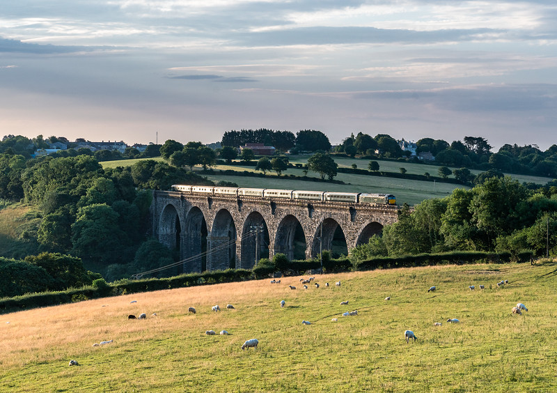 030718  57604 heads the down sleeper over Moorswater viaduct