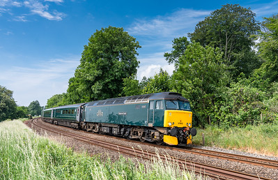 090618  57602 has just cleared Hemerdon summit and heads east with the 2E75 10:26 St.Erth-Exeter St.Davids