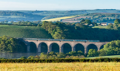 140518  57602 heads over Lynher viaduct with the down beds.