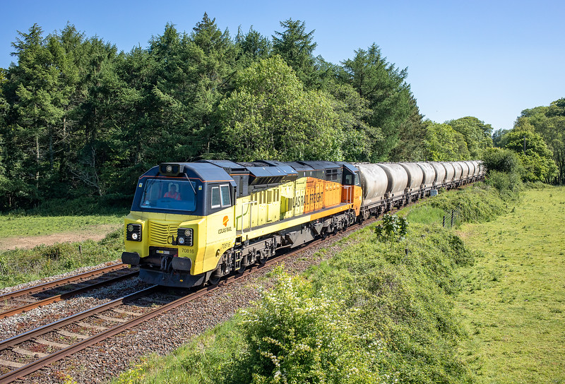 230518   .heading past Respryn and en route to Lostwaithiel to run round,70816 heads tthe 6C35 02:50 Aberthaw cement works-Moorswater