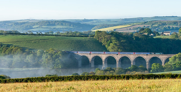 140518  With the morning mist lifting a FGW 125 heads over Lynher viaduct.