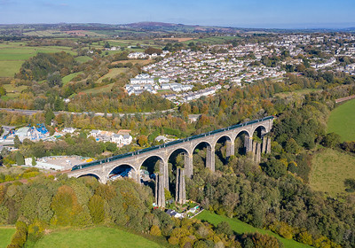 201018 800309 crosses  Moorswater viaduct with 1C77 1003 London Paddington to Penzance