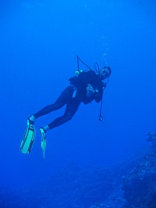 Floating in the deep blue